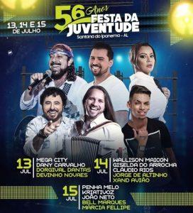 Divulgada as atrações da 56ª Festa da Juventude de Santana do Ipanema