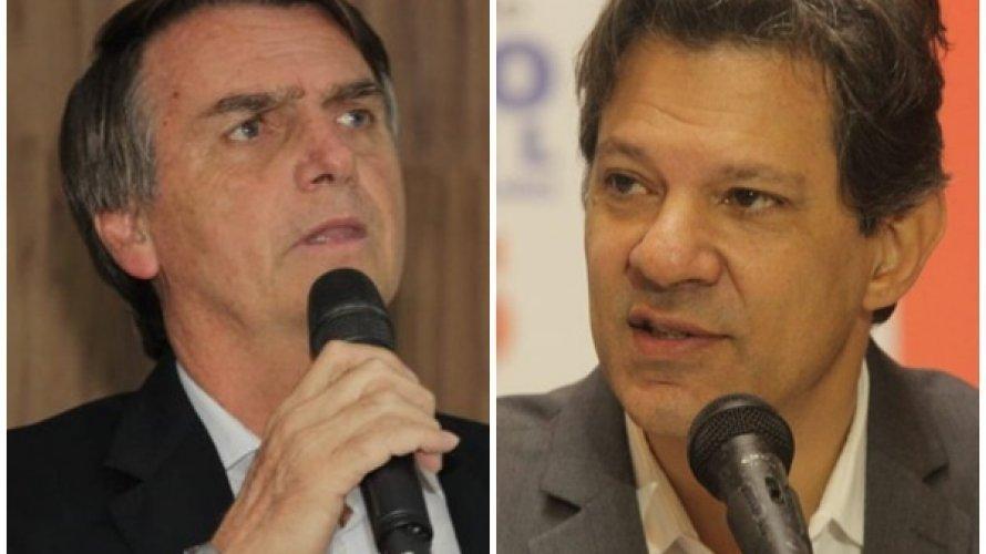 Bolsonaro tem 33% dos votos válidos, Haddad tem 27%