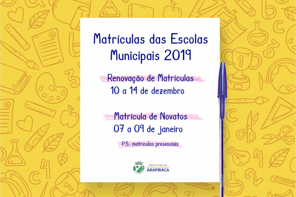 Matrículas da Rede Municipal de Educação em Arapiraca  estão disponíveis