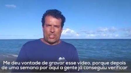 Vídeo: Apresentador do programa 'Mundo Sustentável' da Globonews critica a falta de fiscalização na praia de São Miguel dos Milagres