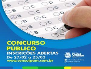 Paulo Afonso: Inscrições para o concurso público seguem até 25 de março