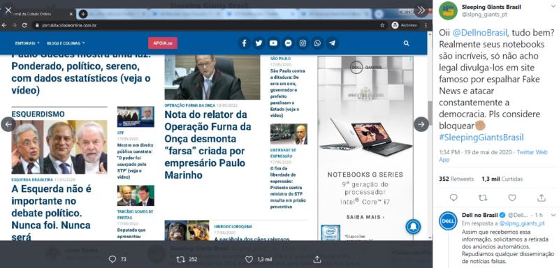 Dell e Telecine derrubam anúncio de site de fake news bolsonarista após alerta de perfil no Twitter