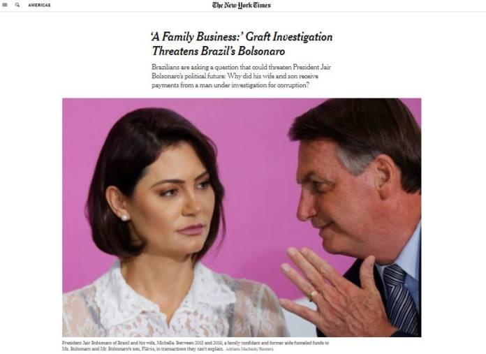 """Deu no New York Times: EUA repercutem corrupção da família Bolsonaro e descobrem o termo """"rachadinha"""""""