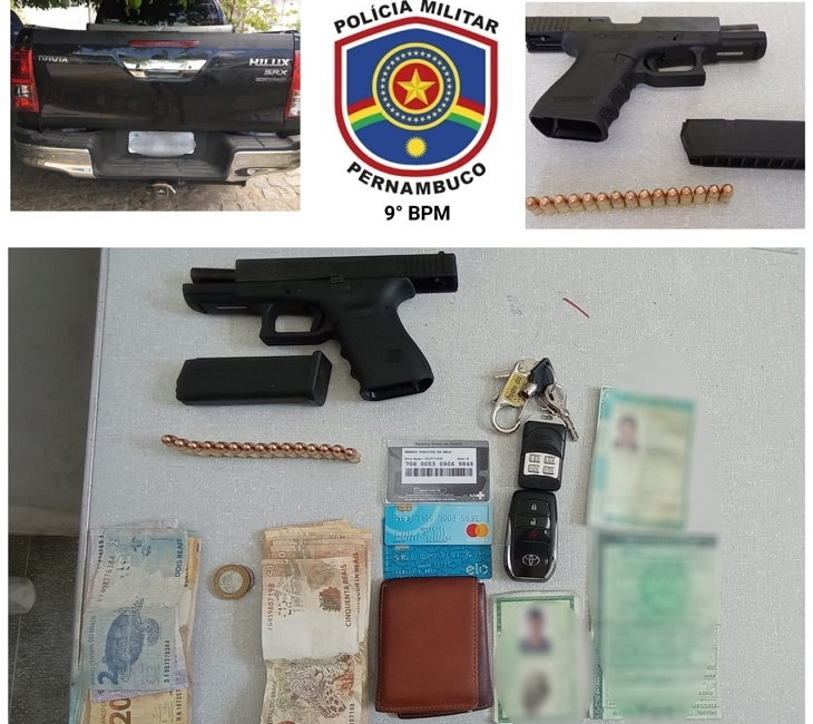 PM de Águas Bela prende três homens armado com pistola