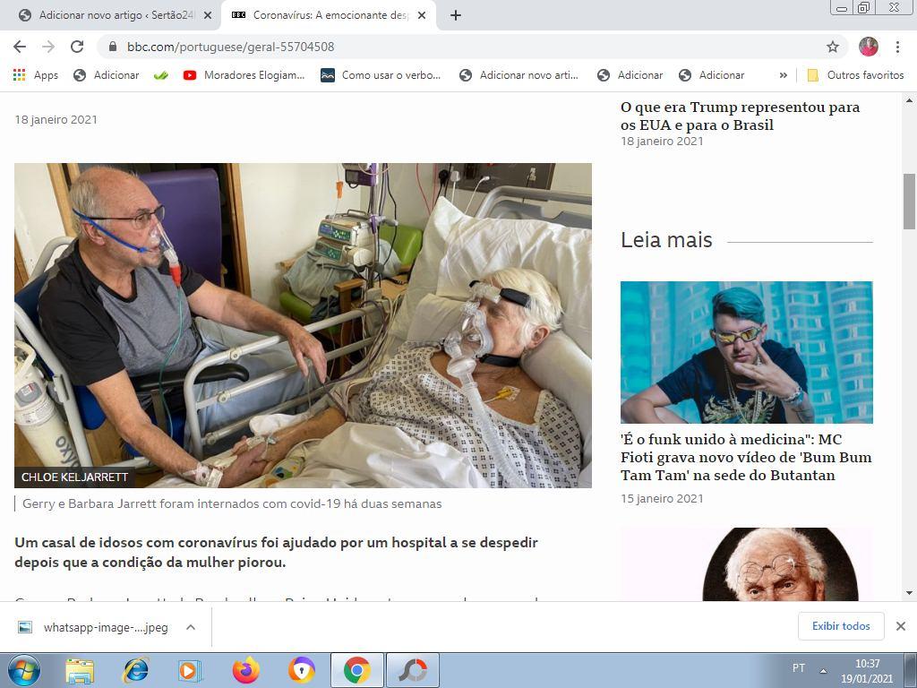 CORONAVÍRUS: A emocionante despedida de casal com covid em 'último encontro' em hospital