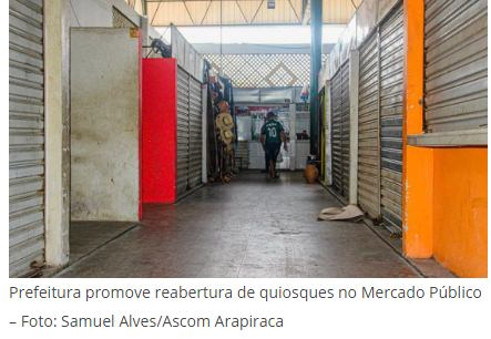 Prefeitura promove ação para reabertura de quiosques do Mercado Público de Arapiraca