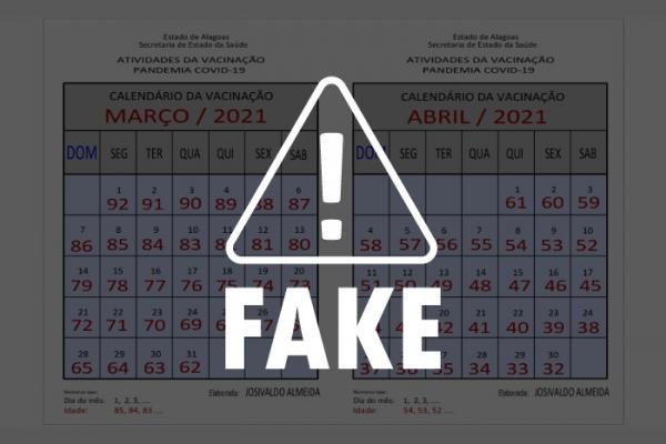ALAGOAS SEM FAKE Calendário com datas de vacinação para pessoas até 32 anos é falso
